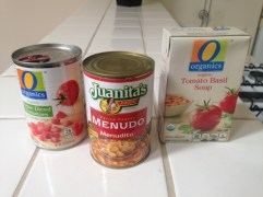 Orgainc Tomato Basil Soups, and can of Menudo