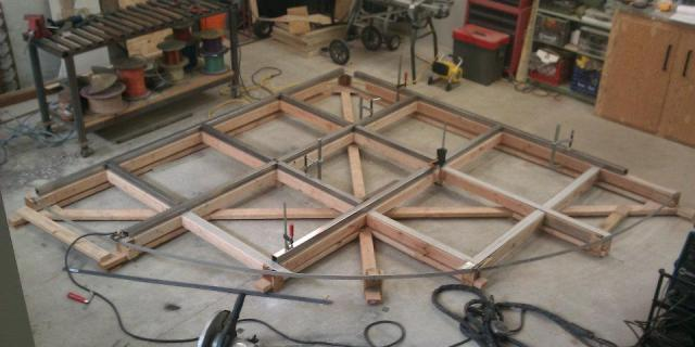 Constructing the frame for the glass flooring