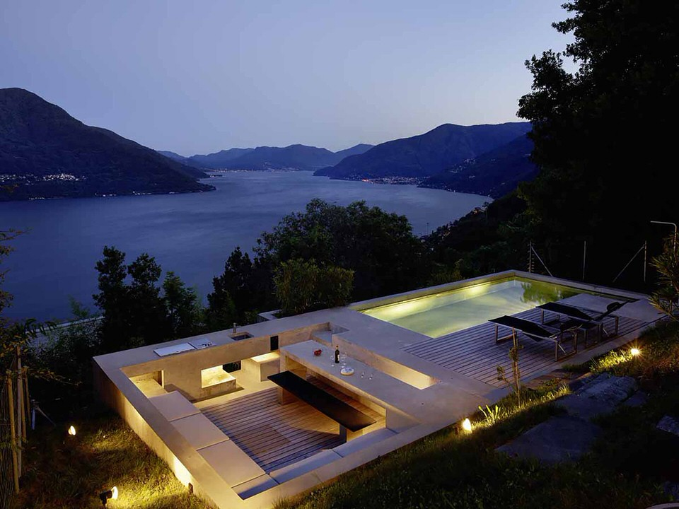 Seperate Outdoor Entertainment Space Swimming Pool Kitchen in Switzerland