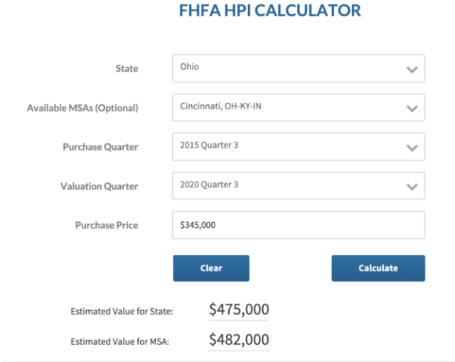 A calculator used to get a house price estimate.