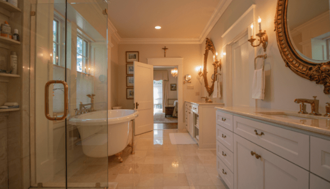 A bathroom that a real estate agent is showing a buyer.