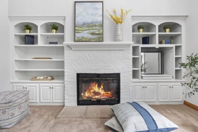 A fireplace that has an updated style.