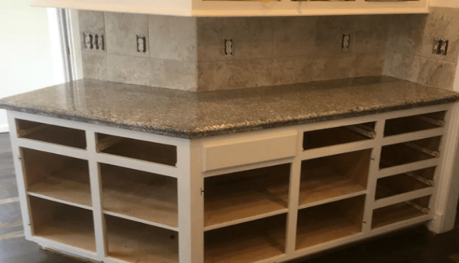 A countertop made of the material terrazzo.