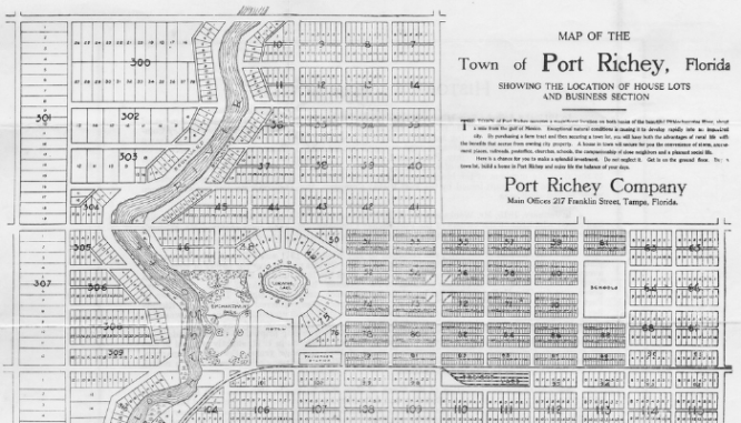 A plat map of Port Richey.