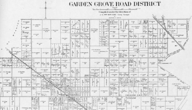 A plat map of Garden Grove District.