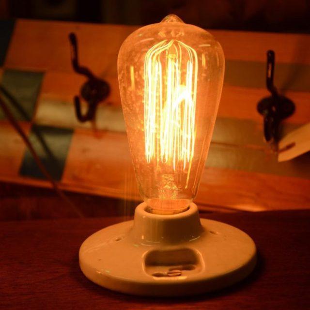 A lightbulb in the industrial interior design.