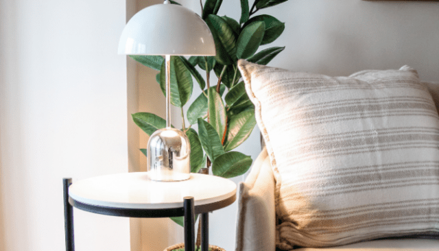 An image of a lamp used to demonstrate how to get Restoration Hardware style on a budget.