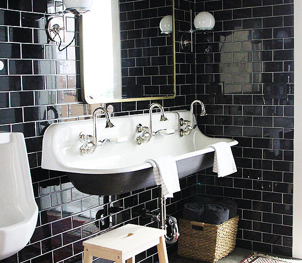 Black Subway Tile On Repeat And Floor To Ceiling Too Home Love Network