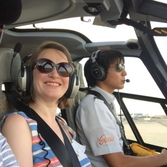 Cathy Abbott on the Sundance Helicopter Tour over the Grand Canyon