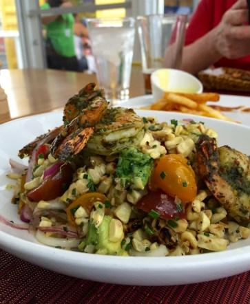 The Terrace Salad at Perch, Las Vegas Grilled Corn, Shrimp, Avocado, Tomato, Cilantro Chimichurri