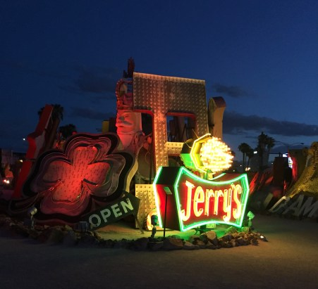 Collection of signs at the Neon Bone Yard, Neon Museum, Las Vegas. Night fall