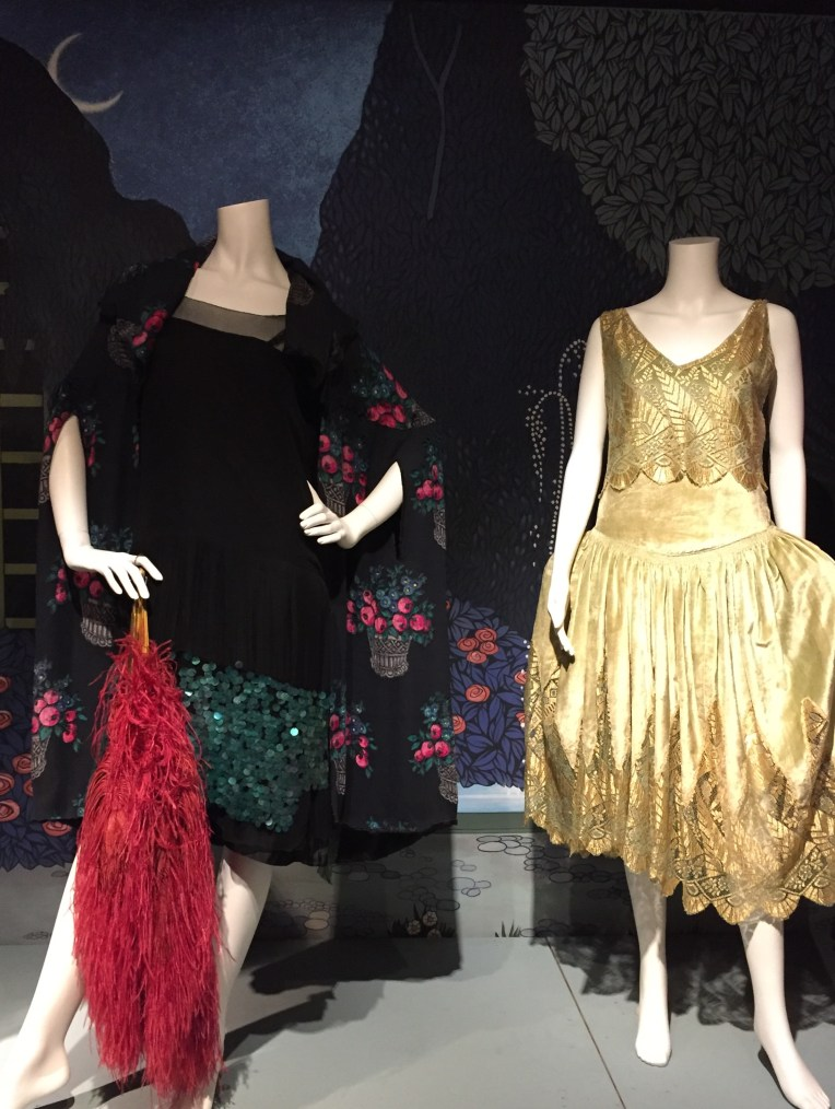 1920s Printed Velvet Cape and Gold lace dress at the Fashion and Textile museum