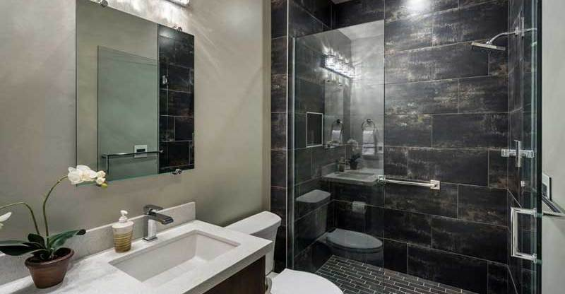 small bathroom design ideas. Contemporary Bathroom with Dark Tile  Home 50 Modern Small Design Ideas HOMELUF