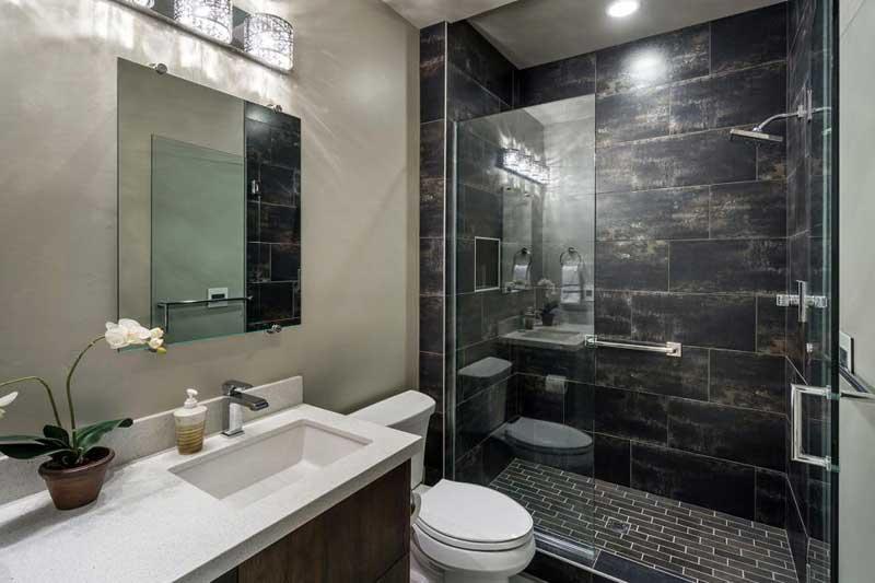 Marvelous Contemporary Bathroom With Dark Tile
