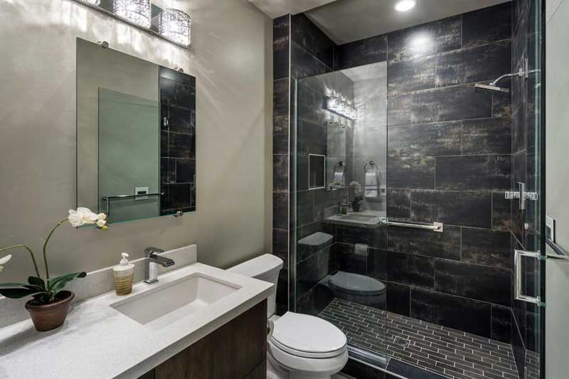 Perfect Contemporary Bathroom With Dark Tile. Home · Bathroom. 50 Modern Small  Bathroom Design Ideas