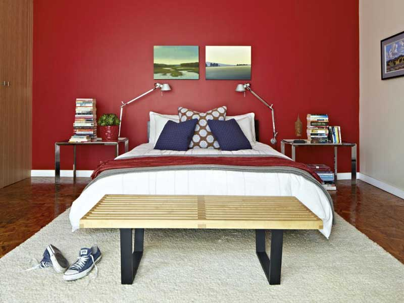 Contemporary Bedroom with Red Accent Wall