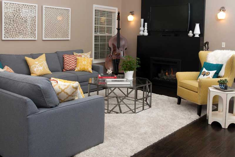 Contemporary Living Room With Gray Sectional