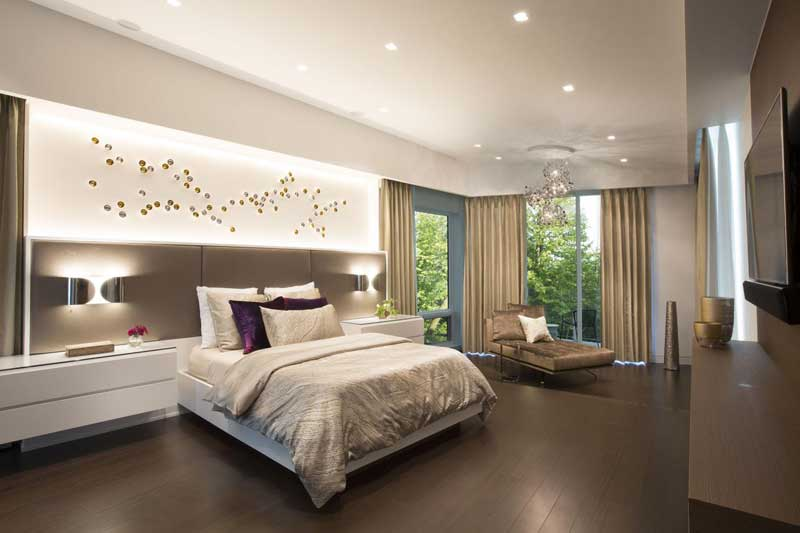 Contemporary Master Bedroom with Wood Floor