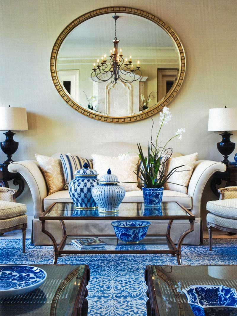 Living Room with Large Round Mirror