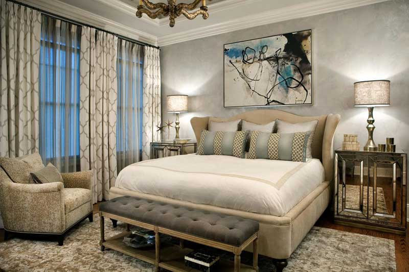 Master Bedroom Features Upholstered Bed