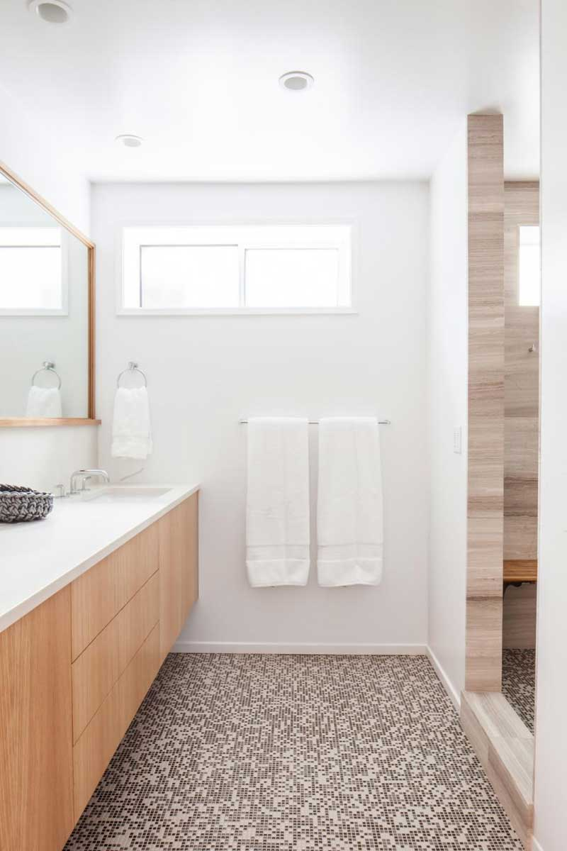 Modern Bathroom with Brown Mosaic Tile Floors