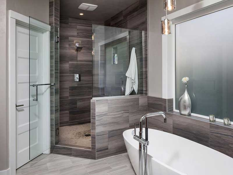 Modern Bathroom with Gray Tiles