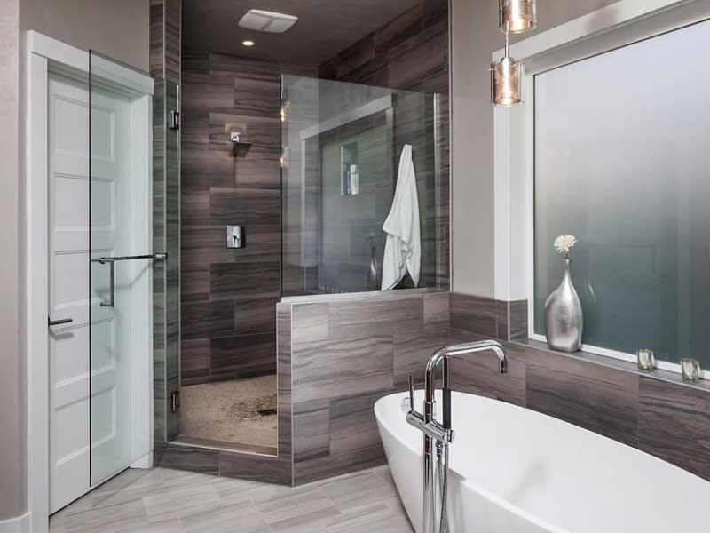 Modern Bathroom with Gray Tiles
