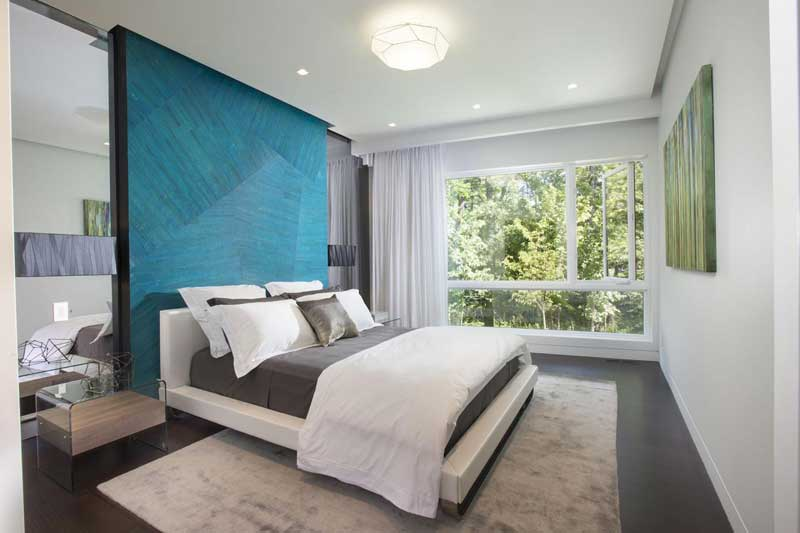 Modern Bedroom with Blue Accent Wall