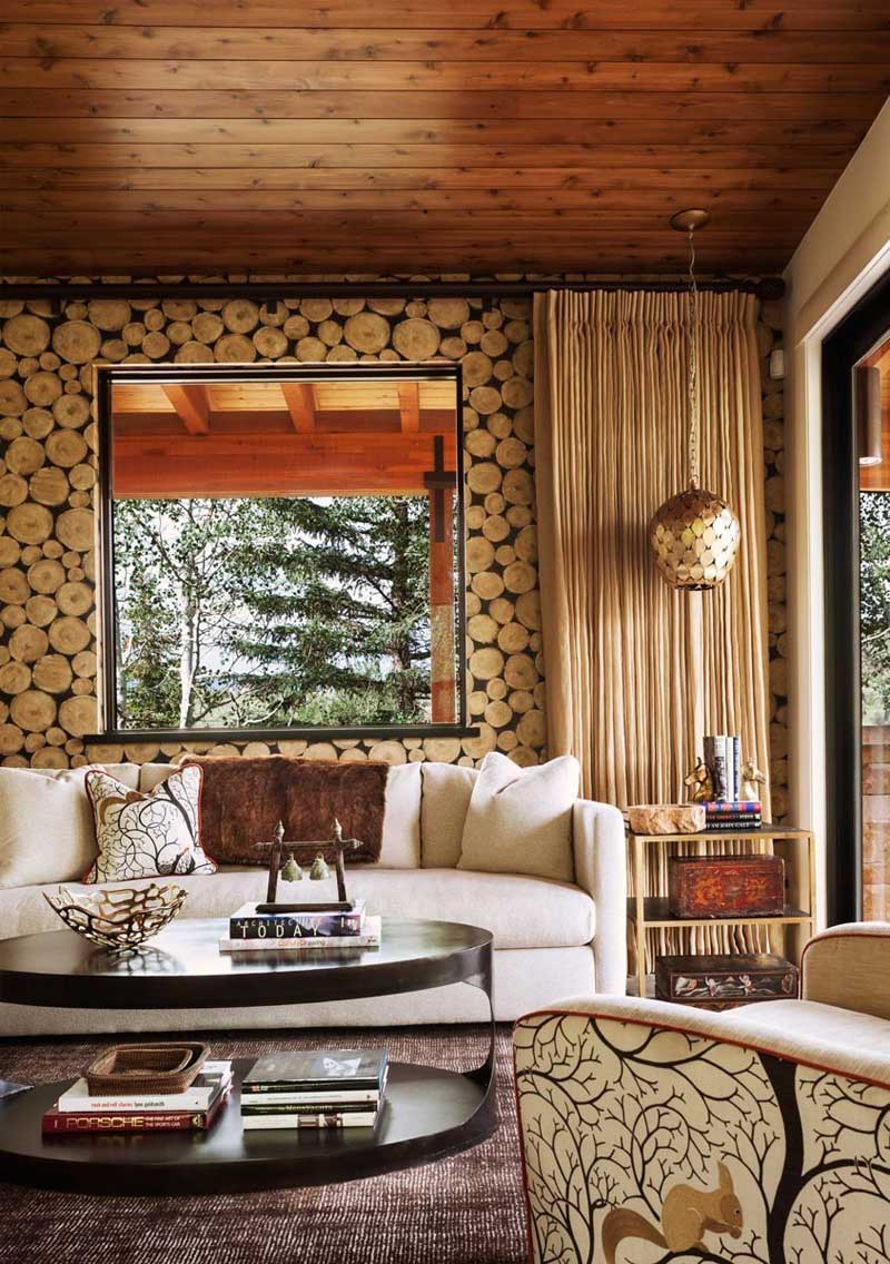 Living Room with Log Wallpaper