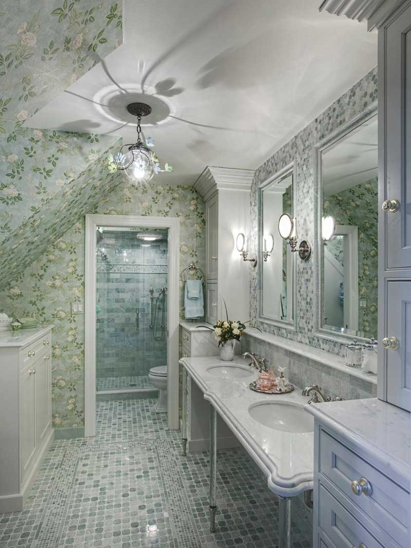 Traditional Bathroom with Double Console Sink
