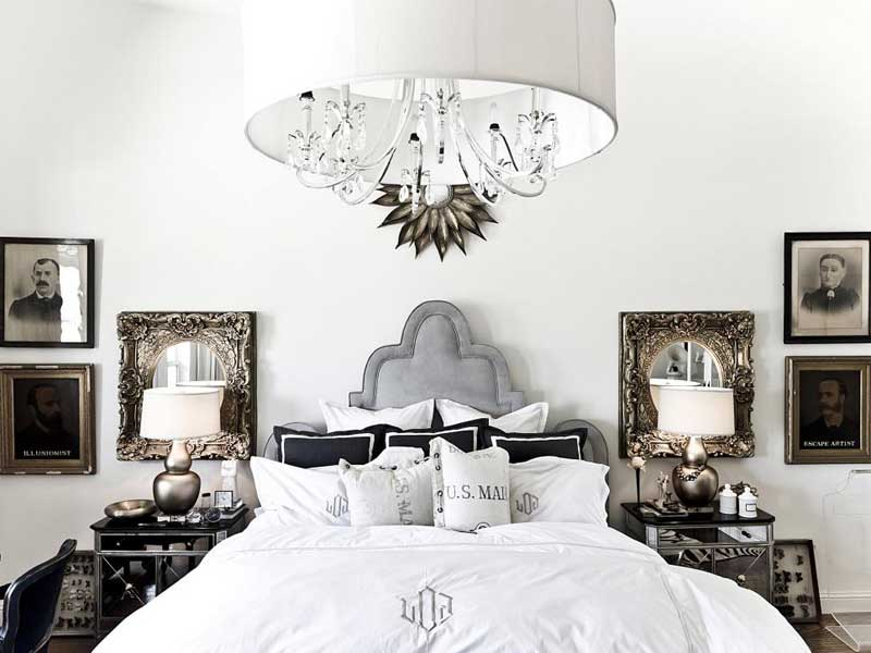 White Bedroom with Symmetrical Decor