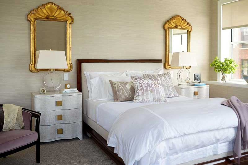 White Midcentury Bedroom with Gold Mirrors