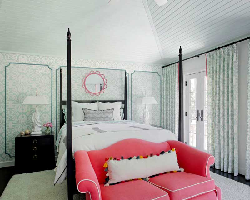 Blue Bedroom With Pink Sofa