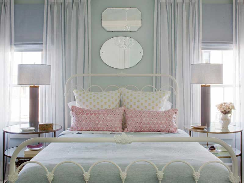 Blue Bedroom With White Bed