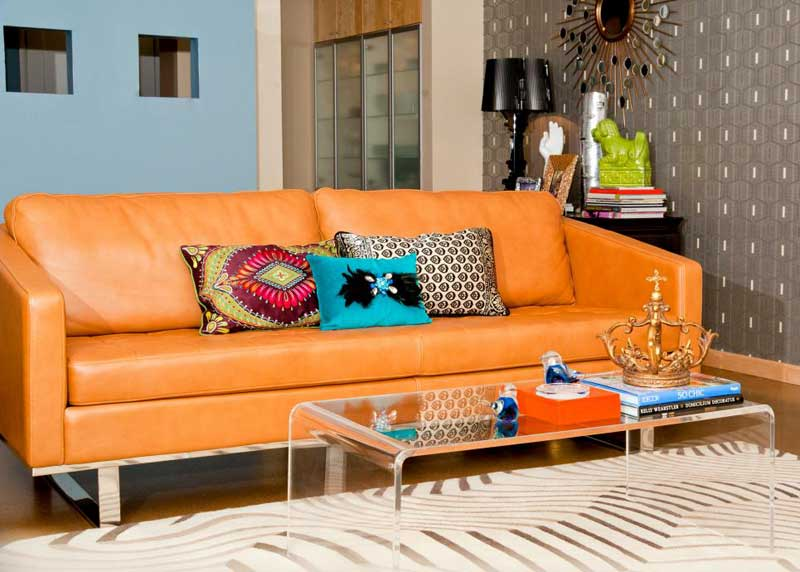 Blue Living Room With Orange Leather Sofa