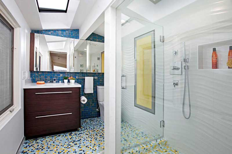 Bathroom with Blue Marble Tile Backsplash