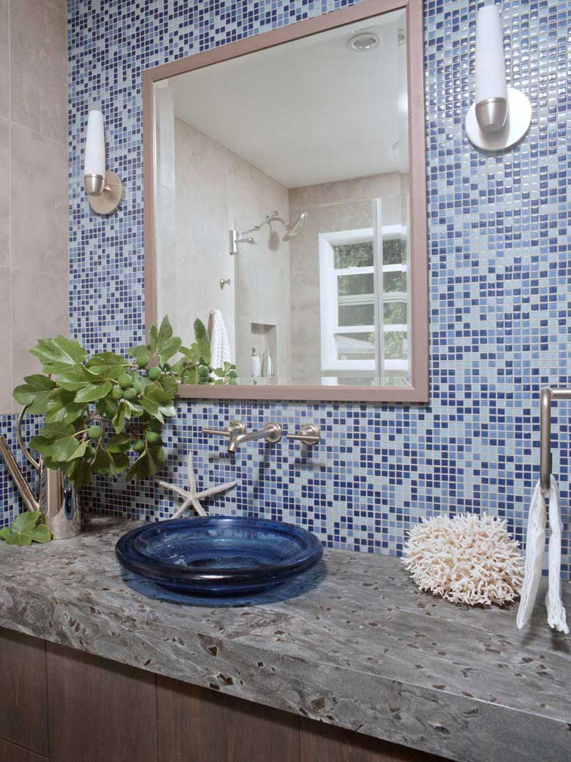 Bathroom with Blue Mosaic Tile Wall