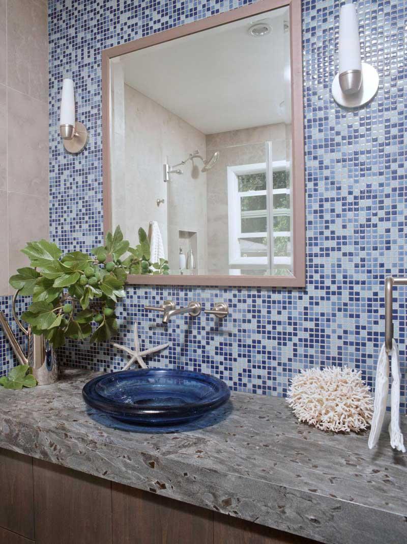Bathroom with Blue Mosaic Tile Wall