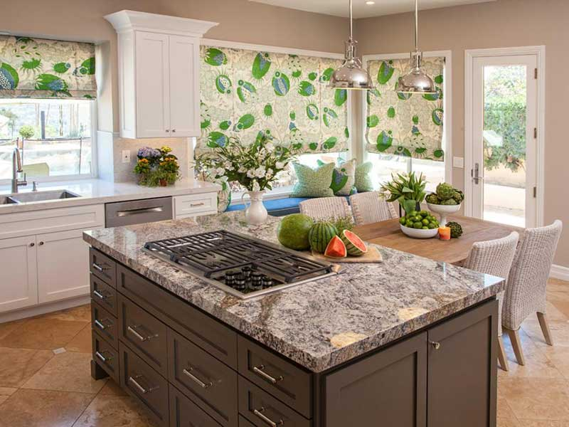 Brown Kitchen Island With Cooktop