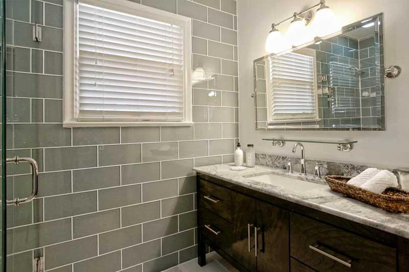 Bathroom with Gray Tile Wall