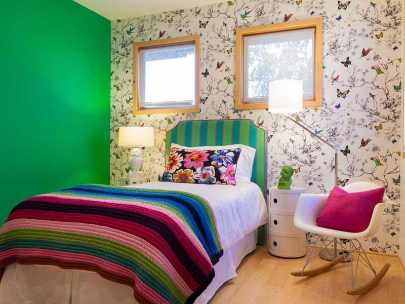 green bedroom for teenage girls. green teenage girl bedroom with nature wallpaper for girls