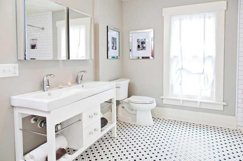 Bathroom with Hexagonal Tile Floor
