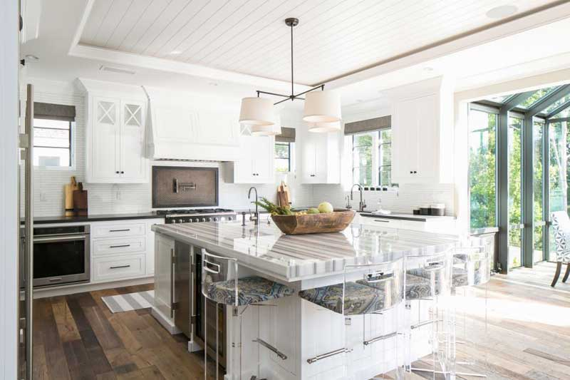 Kitchen Island With White Marble Countertop