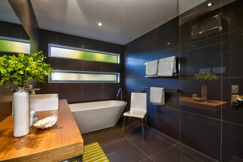 Bathroom with Large Black Tile