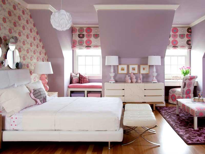Lavender and White Teenage Girl Bedroom