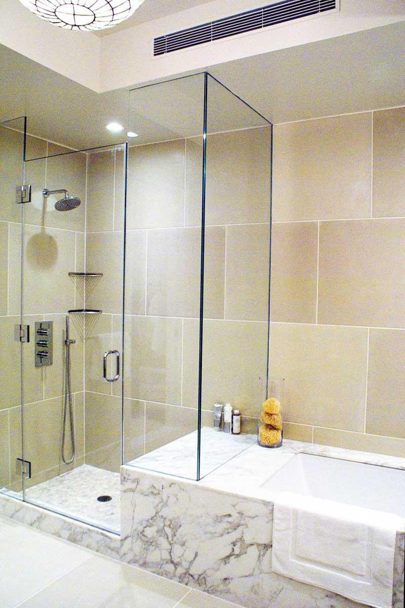 Bathroom with Limestone Tile Wall