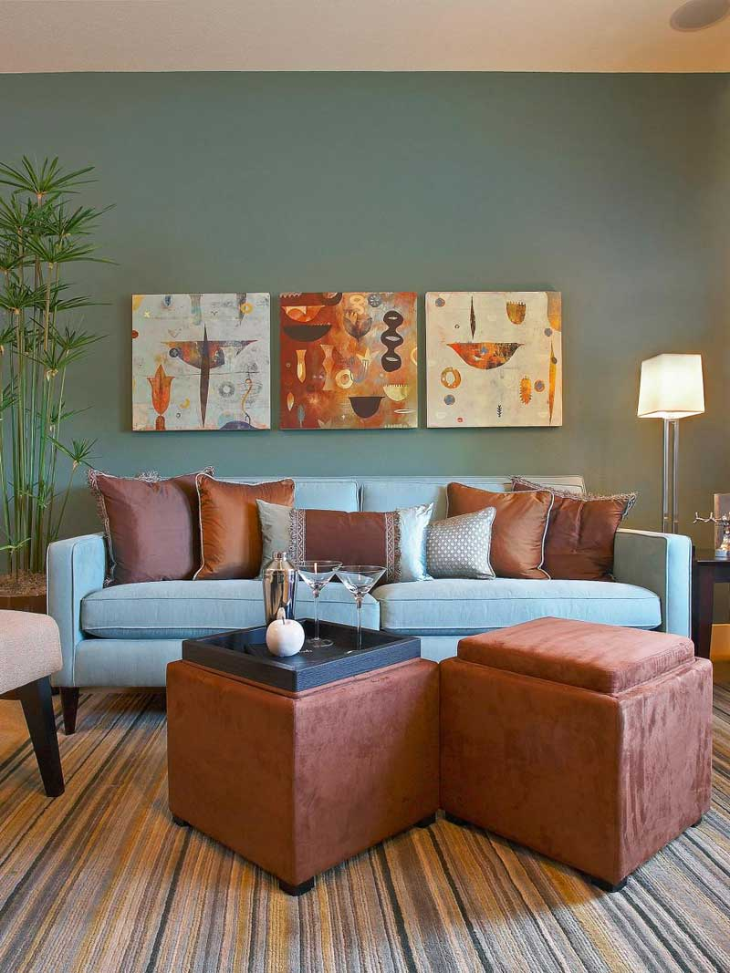 Living Room With Blue And Brown Color Scheme Part 34