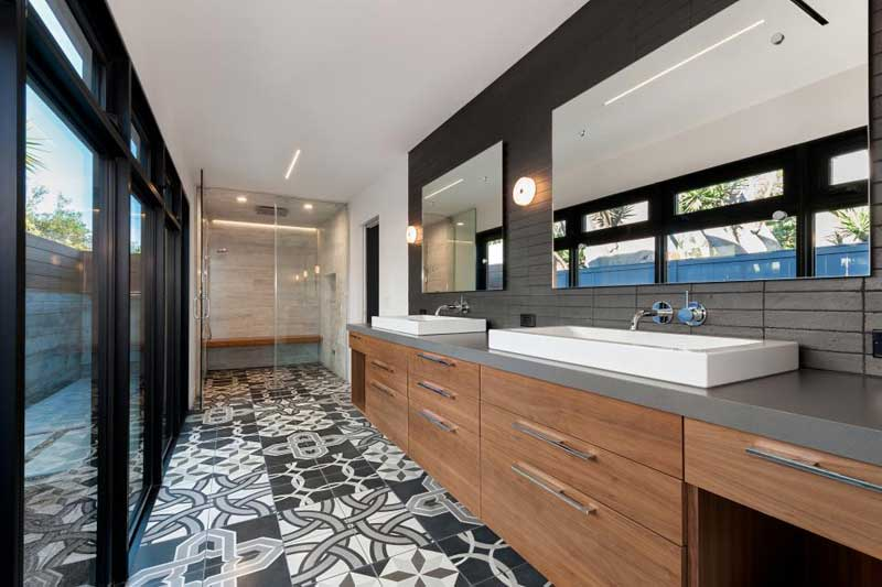 Bathroom with Mixed Tile Patterns
