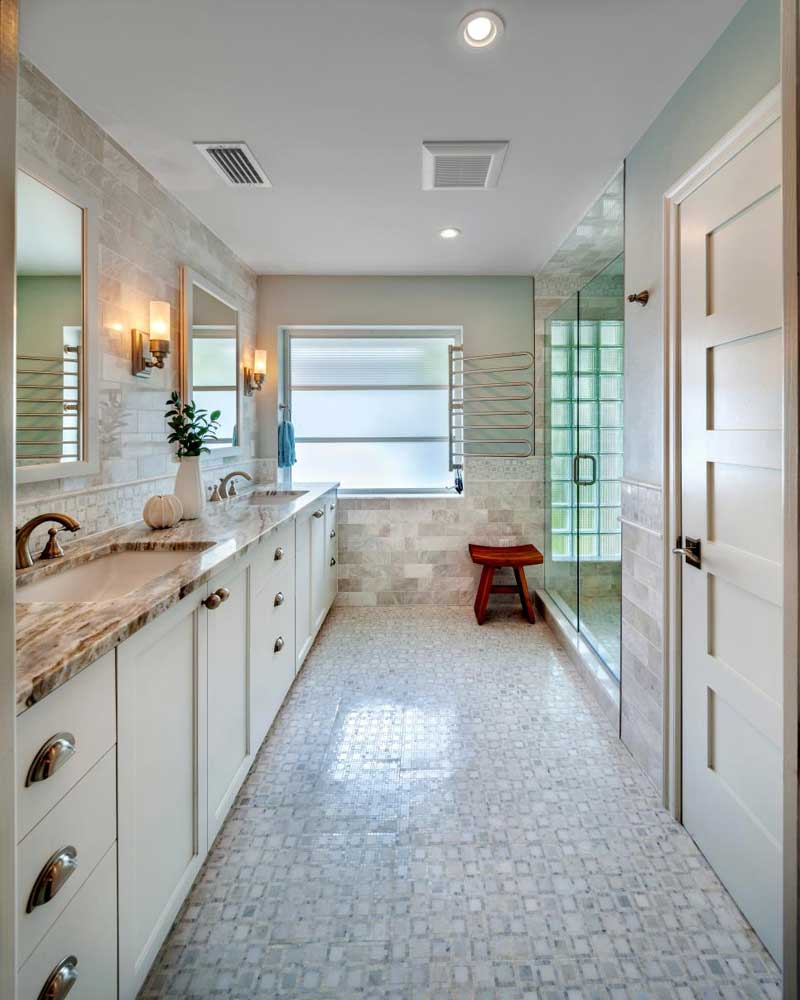 Bathroom with Neutral Stone Tile
