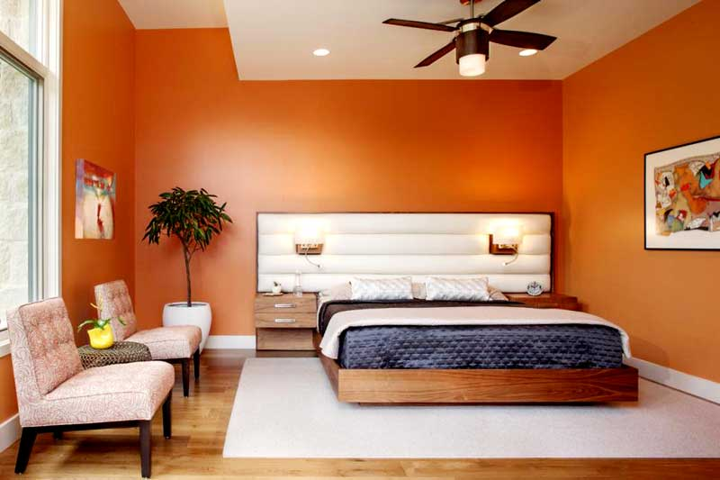 Orange Bedroom With Custom Platform Bed